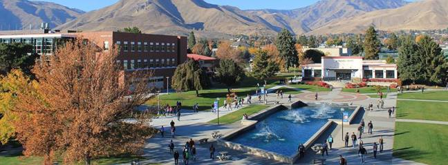 Wenatchee Valley College commons during summer with the fountain running,.