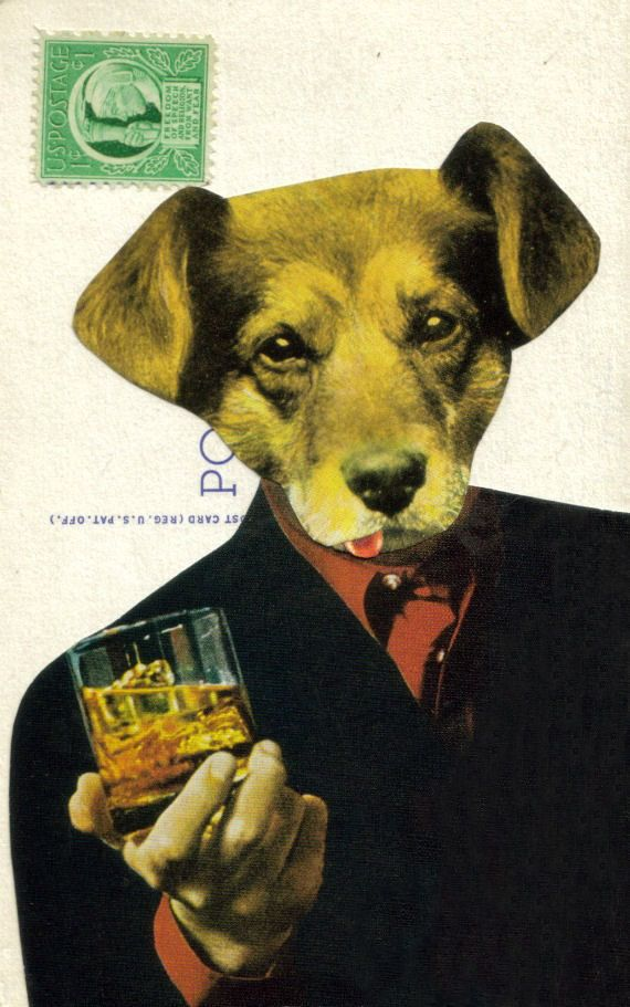 Boozehound image from dadadreams showing a dog drinking scotch.